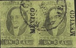 J) 1861 MEXICO, HIDALGO, UN REAL, PAIR, MEXICO DISTRICT, CIRCULAR CANCELLATION, MN - Mexico