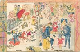 - Ref- B675 - Grands Magasins Du Louvre - Carte à Colorier - Les Jouets - Jeux Et Jouets - Carte Bon Etat - - Magasins