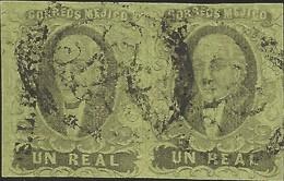 J) 1861 MEXICO, HIDALGO, UN REAL, PAIR, SAN LUIS POTOSI DISTRICT, MN - Mexico