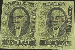 J) 1861 MEXICO, HIDALGO, UN REAL, PAIR, OAJACA DISTRICT, CANCELLATION TO PEN, MN - Mexico