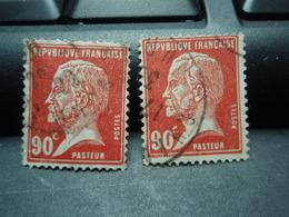 2 Timbres PASTEUR  90 C - 1922-26 Pasteur