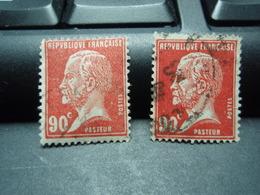 2 Timbres PASTEUR  90 C  Nuance De Rouge - 1922-26 Pasteur