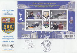 Enveloppe  FDC  1er  Jour   SAINT  PIERRE  ET  MIQUELON   Bloc   Feuillet    La   GENDARMERIE   2015 - Police - Gendarmerie