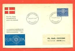 EUROPA - EUROPE-J DANIMARCA CEPT 1960 - FDC