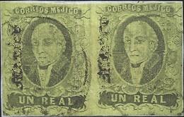 J) 1861 MEXICO, HIDALGO, UN REAL, PAIR, FRANGMENT OF LETTER, MEXICO DISTRICT, CIRCULAR CANCELLATION, MN - Mexico