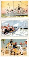 3 Cartes Marine Messler 8 - 9 - 10 : Sous-marin - Canot-major - Matelot En Escale En Afrique - Guerre