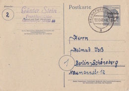 Entier Neuf 12pf Gris Surcharge Sowjetische Zone (carton Blanc), Obl. Frankfurt G Le 12/10/48 Pour Berlin - Zona Sovietica