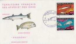 Enveloppe  FDC  1er  Jour  TERRITOIRE  FRANCAIS   Des   AFARS  Et  ISSAS     Poissons  1977 - Afars & Issas (1967-1977)