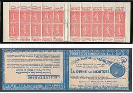 Carnet - Semeuse Lignée 50 C. Rouge  - Y&T N° 199-C 46 Série S 160-0 Neuf ** Luxe - Markenheftchen