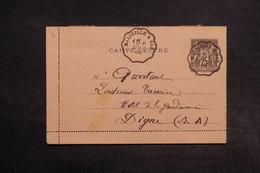 FRANCE - Entier Postal Type Sage Pour Digne En 1894 , Oblitération Ambulant - L 32235 - Postal Stamped Stationery