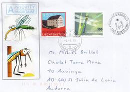 Grosse Libellule Royale , Année 2019, Sur Lettre Vaduz (Liechtenstein) Adressée Andorra, Avec Timbre à Date Arrivée - Insekten
