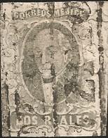 J) 1861 MEXICO, HIDALGO, 2 REALES, BLACK BOX, CANCELLATION, ORIZAVA DISTRICT, MN - Mexico