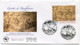 FRANCE ENVELOPPE 1er JOUR DU N°3905 GROTTE DE ROUFFIGNAC (DORDOGNE) OBLITERATION ROUFFIGNAC-SAINT-CERNIN-DE-REILHAC..... - Arts