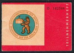 C6330 - Deutschlandtreffen Der Jugend Berlin 1964 - Teilnehmerherft Eintrittskarte S Bahn U Bahn Fahrplan - Tickets - Vouchers