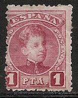 1901-1905-ED. 253 ALFONSO XIII TIPO CADETE 1 PTA. CARMÍN-NUEVO CON FIJASELLOS CORTO Y DESCARNADO-MH - 1889-1931 Reino: Alfonso XIII