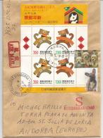 TAIWAN. Année Du Chien, Bloc-feuillet Sur Lettre Adressée Andorra,avec Timbre à Date Arrivée - Dogs