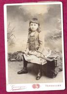 GRANDE PHOTO CDV Circa 1891 De GEORGES à VERSAILLES (78). ENFANT Avec Sa RAME De BATEAU, MODE, TOILETTE ..2 Scans - Fotos