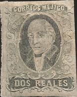 J) 1861 MEXICO, HIDALGO, 2 REALES, NO DISTRICT NAME, MN - Mexico