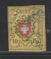 Zwitserland Helvetia 1850  Mi.nr. 8 II   Used  No Perf.    CV €130, - 1854-1862 Helvetia (Non-dentelés)