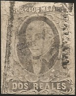 J) 1861 MEXICO, HIDALGO, 2 REALES, ORIZAVA DISTRICT, BLACK BOX, CANCELLATION, MN - Mexico
