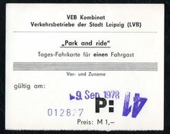 C6335 - Leipzig Fahrkarte - VEB Kombinat Verkehrsbetriebe LVB - Tageskarte - DDR Bus Bahn Straßenbahn Nahmverkehr - Europe