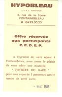 HYPOBLEAU  Restaurant 4, Rue De La Corne FONTAINEBLEAU  Avec Offre Aux Participants C.E.D.E.P. - Visitenkarten