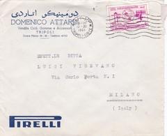 BUSTA VIAGGIATA  - LIBIA - TRIPOLO - PIRELLI - VENDITA CICLI GOMME E ACCESSORI - VIAGGIATA  PER MILANO / ITALIA - Libia