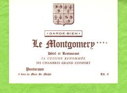 """Hôtel Restaurant  """"LE MONTGOMERY"""" Pontorson  Dans La Manche. - Visiting Cards"""