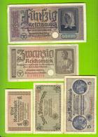 9047 Ostland Germany 1, 2, 5, 20, 50 Reichsmark Ca 1942 Germany Latvia Lithuania Estonia Russia LOTx5ex - [ 9] Duitse Bezette Gebieden