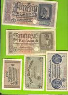 9046 Ostland Germany 1, 2, 5, 20, 50 Reichsmark Ca 1942 Germany Latvia Lithuania Estonia Russia LOTx5ex - [ 9] Duitse Bezette Gebieden