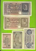9045 Ostland Germany 1, 2, 5, 20, 50 Reichsmark Ca 1942 Germany Latvia Lithuania Estonia Russia LOTx5ex - [ 9] Duitse Bezette Gebieden