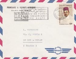 BUSTA VIAGGIATA BY AIR MAIL - MAROCCO - CASABLANCA -  POINSARD E VEYRET - AFRIQUE - VIAGGIATA  PER MILANO / ITALIA - Marocco (1956-...)
