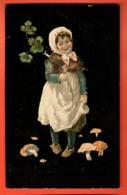 EPC-07 Bonne Année, Jeune Fille, Trèfle à Quatre Et Champignons. Circulé En 1911 - Nouvel An