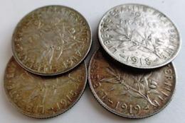 LOT DE 4 MONNAIES ARGENT . 2 FRANCS 1915 / 1917 / 1918 / 1919  , FRANCE . LOT OF 4 OLD SILVER COINS - I. 2 Francs