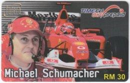 MALAYSIA A-561 Prepaid TimeCel - Sport, Formula One, Michael Schumacher - Used - Malaysia