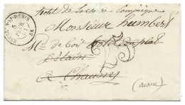 MP ESTREES ST DENIS 1851 / TAXE 25 DOUBLE TRAIT / POUR COMPIEGNE / REDIRIGEE - Storia Postale