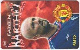 MALAYSIA A-572 Prepaid TimeCel - Sport, Soccer, Manchester United, Fabien Barthez - Used - Malaysia