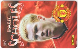 MALAYSIA A-573 Prepaid TimeCel - Sport, Soccer, Manchester United, Paul Scholes - Used - Malaysia