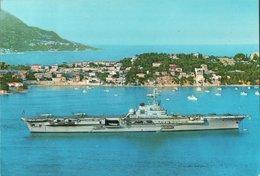 CARTE POSTALE DU PORTE-AVIONS CLEMENCEAU EN RADE DE VILLEFRANCHE - Warships