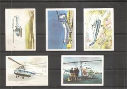 """Hélicoptères ( Lot De 5 Chromos De La Chocolaterie """"JACQUES"""" à Voir) - Hubschrauber"""