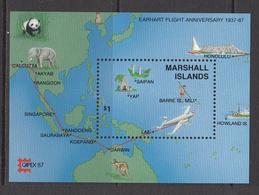 1987 Maldives Earhart Aviation Elephant Panda Souvenir Sheet Complete Set Of 1 MNH  - I Was At CAPEX Show!! - Marshall