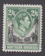 Northern Rhodesia 1938 - King George VI 2 SHILLING & 6 PENCE Mint Hinged - Northern Rhodesia (...-1963)