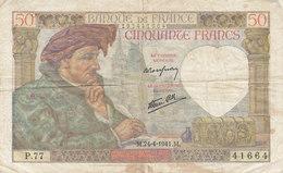 Billet 50 F Jacques Coeur Du 24-4-1941 FAY 19.09 Alph. P.77 - 1871-1952 Antiguos Francos Circulantes En El XX Siglo