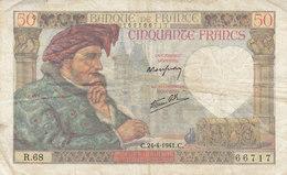 Billet 50 F Jacques Coeur Du 24-4-1941 FAY 19.09 Alph. R.68 - 1871-1952 Antichi Franchi Circolanti Nel XX Secolo
