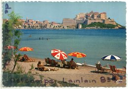 - 774 - CALVI - ( Corse ), La Plage Et La Citadelle, Parasols, Non écrite, Grand Format, Animation, TBE, Scans. - Calvi