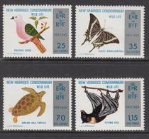 1974 New Hebrides Fauna Birds Turtles Butterflies Complete Set Of 4 MNH - Leyenda Inglesa