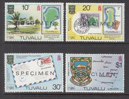 1980 Tuvalu London 80 Stamp Show Postal History SPECIMEN Complete Set Of 4 MNH - Tuvalu