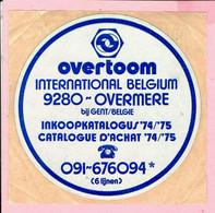 Sticker - Overtoom INTERN. Belgium - Overmeire Bij Gent - Inkoopkatalogus 1974-1975 - Pegatinas
