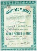 Titre Ancien - Crédit Des Flandres - Société Anonyme -Titre De 1913 - Banque & Assurance