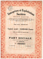 Titre Ancien - Entreprises Et Exploitations Sucrières - Société Anonyme -Titre De 1923 - Industrie
